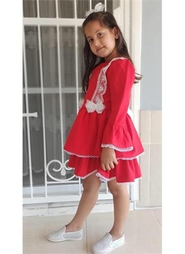 Riccotarz Kız Çocuk Sweet Girl Dantel İşlemeli Kırmızı Elbise Kırmızı